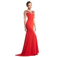 구슬과 TS couture® 공식적인 이브닝 드레스 트럼펫 / 인어 특종 청소 / 브러쉬 기차 얇은 명주 그물 / 저지