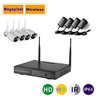 4ch Megapixel Wireless IP Camera Kit 1080P/960P/720P