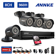 ANNKE 8CH 960H CCTV System Waterproof Video Recorder 900TVL Home Security Camera Surveillance Kits 1TB HDD