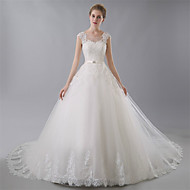 Ball Gown Wedding Dress - Ivory Chapel Train Jewel Tulle