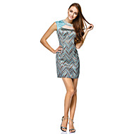 TS Couture® Cocktail Party Dress - Print Sheath/Column Jewel Short/Mini Satin / Polyester