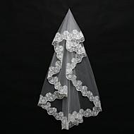 Wedding Veil One-tier Blusher Veils / Shoulder Veils / Elbow Veils / Fingertip Veils Lace Applique Edge Tulle White / Ivory