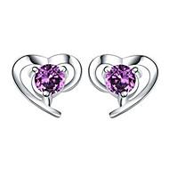 Női Beszúrós fülbevalók Kristály Szerelem Szív jelmez ékszerek Ezüst Kristály Heart Shape Ékszerek Kompatibilitás Esküvő Parti Napi