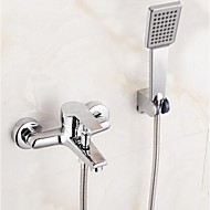 Bathroom Wall Mounted Soild Brass Chrome Finish Bathtub Faucet with Hand Shower Set