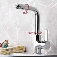 Bathroom Zinc Alloy Chrome Finish Deck Mounted 720° Rotatable Single Handle Single Hole Cold and Hot Water Basin Faucet