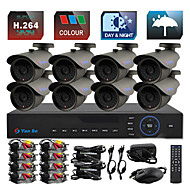 YanSe® 8CH D1 1000TVL CCTV DVR Kit IR Color Waterproof Security Cameras System 3.6mm (100ft Cable) F278CF08