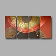 Ready to Hang Stretched Hand-Painted Oil Painting 4 pieces Canvas Wall Art Modern Abstract Golden Brown