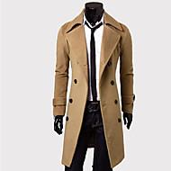 Men's Solid Casual Coat,Cotton Blend Long Sleeve-Black / Brown / Gray / Tan