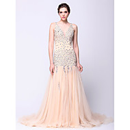 Formal Evening Dress Fit & Flare V-neck Court Train Tulle with Beading