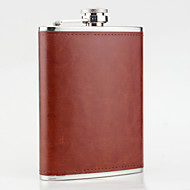 Stainless Steel Hip Flasks 8-oz Brown Leather Flask