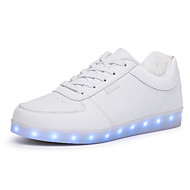 Unisex Sneakers Spring Summer Fall Winter Comfort Light Up Shoes PU Outdoor Casual Athletic Flat Heel Lace-up LED Black White