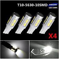 T10 4x הלבן 158 194 168 w5w 5730 הובילה מנורת הנורה 10 SMD המכונית אור סופר 12v