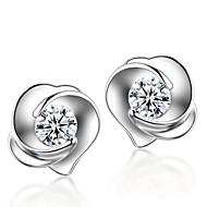 Boucles d'oreille goujon Argent sterling Cristal Mode Argent Bijoux Mariage Soirée Quotidien 2pcs