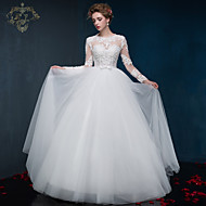 Ball Gown Wedding Dress - White Floor-length Jewel Satin / Tulle