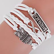 Heren Dames Wikkelarmbanden loom Bracelet Dubbele laag Bohemia Style Verstelbaar Legering Geometrische vorm Anker Uil Liefde Wit Sieraden