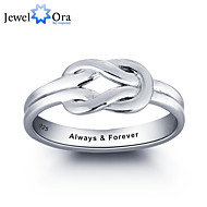 Noble Personalized Love Promise Ring 925 Sterling Silver Simple Knot Ring For Women