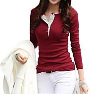 T-Shirt Da donna Tinta unita Rotonda Manica lunga Cotone / Altro