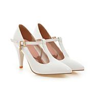 נעלי נשים - בלרינה\עקבים - דמוי עור - עקבים / רצועת T / שפיץ - שחור / אדום / לבן - חתונה / מסיבה וערב / שמלה - עקב סטילטו