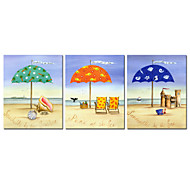 VISUAL STAR®Colorful Summer Beach Canvas Print 3 Panel Seascape Canvas Artwork Ready to Hang