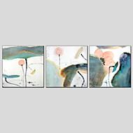 Ručno oslikana Cvjetni / BotaničkiModerna / Europska Style Tri plohe Platno Hang oslikana uljanim bojama For Početna Dekoracija