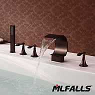 Mlfalls Artistic Brass Finish 5 Holes Deck Mount Oil Rubbed Bronze Waterfall Sink Bathroom Hand Shower Taps