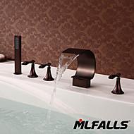 Vandret Montering Tre Håndtag fem huller in Antik Bronze Brusehaner / Badekarshaner / Håndvasken vandhane