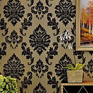 New Rainbow™ Floral Wallpaper Classical Wall Covering , Velvet Flocked Velvet Wallpaper European Damascus