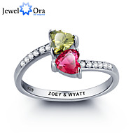 Noble Personalized Double Heart Stone Promise Ring 925 Sterling Silver Cubic Zirconia Ring For Women