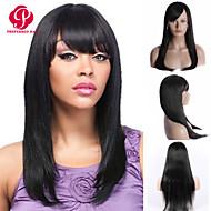 en stock 10-30inch recto de seda con flequillo pelucas delanteras del cordón 100% brasileña virginal del pelo humano peluca u parte de las