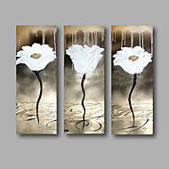 "Ready to Hang Hand-Painted Oil Painting Canvas Three Panels 36""x32"" Wall Art Abstract Modern Silver White"