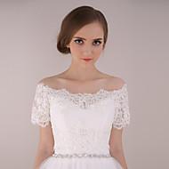 Wedding  Wraps Shrugs Short Sleeve Lace / Tulle Ivory Wedding / Party/Evening Bateau Appliques / Lace Lace-up