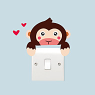 Wall Stickers Wall Decals Style Cartoon Monkey Switch Waterproof Removable PVC Wall Stickers