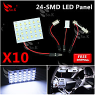 10x super wit 3528 SMD 24LED panel slinger t10 BA9S rv interieur koepel kaart led licht