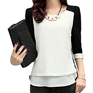 Women's Sexy Casual Cute Plus Sizes Inelastic ¾ Sleeve Regular Blouse (Chiffon)