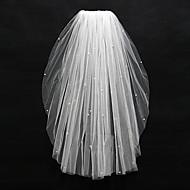 한층 - 컷 가장자리 - 드롭 베일 - 손가락 베일 ( 화이트 / 아이보리 , 구슬 )