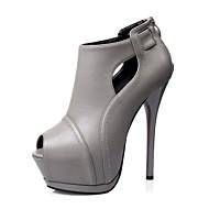 Women's Shoes Stiletto Heel Heels / Peep Toe / Platform / Closed Toe Heels Dress Black / Brown / Gray