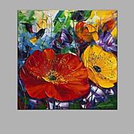 Kézzel festett Virágos / Botanikus Négyzet,Rusztikus Egy elem Vászon Hang festett olajfestmény For lakberendezési