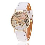 아가씨들 패션 시계 팔찌 시계 세계지도 패턴 석영 PU 밴드 세계지도 패턴 블랙 화이트 브라운