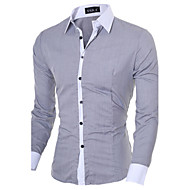 Men's Solid / Patchwork Casual / Work / Formal Shirt,Cotton / Polyester Long Sleeve Black / Blue / Pink / White / Gray