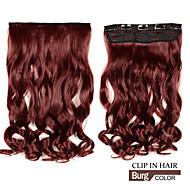 dlouhý klip v syntetické vlnité / kudrnaté prodlužování vlasů s 5 klipy burg