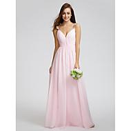 Lanting Bride® Térdig érő Sifon Koszorúslány ruha - A-vonalú Spagettipánt val vel Átkötős / Cakkos