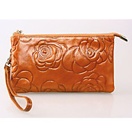 Women 's Genuine Leather  Large capacity Clutches Wallet Fashion Floral Zipper Handbags