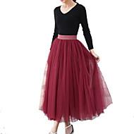 Women Elastic Waist 4 Layers Gauze Tulle Ball Gown Pleated Swing OL Long Skirt