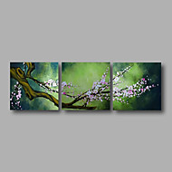 """listo para colgar aceite de estirado pintados a mano de pintura de 72 """"x24"""" tres paneles lienzo de pared blanca flor verde"""