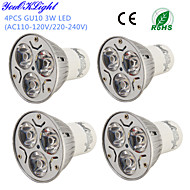 YouOKLight® 4PCS GU10 3W 200-250LM 3000/6000K  White/ Warm White 3-High Power LED Spot Light Bulb - (AC110-120/220~240V)
