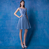 Cocktail Party Dress - Ocean Blue A-line Scoop Knee-length Lace / Tulle