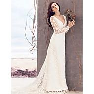 Lanting Sheath/Column Wedding Dress - Ivory Court Train V-neck Lace