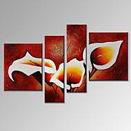 Vizuální star®modern 4 panel olejomalba květiny domů stěna dekor umělecká díla připraven k zavěšení