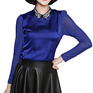 Spring Plus SizesWomen's Beading Shirt Collar Long Sleeve Slim Formal OL Shirt Blouse Tops