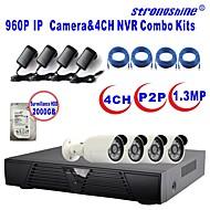 caméra strongshine®ip avec / infrarouge / kits combo imperméables et 4CH H.264 NVR / 2tb surveillance hdd 960p